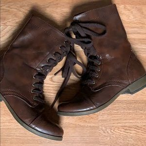 Mossimo Supply Co. Brown Mixed Combat Boots
